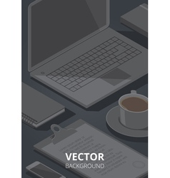 Isometric stationery office background vector