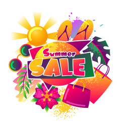 Summer sale background with colorful elements sun vector