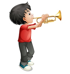 A boy playing with his trombone vector