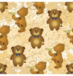 Seamless pattern teddy bears with toys vector