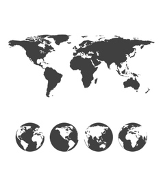 Gray map of the world with globe icons vector image