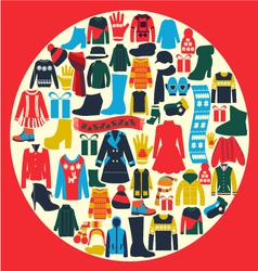 Set of womens and mens clothing vector image