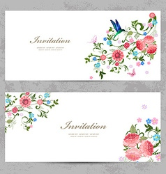Invitation cards with beautiful flowers for your vector