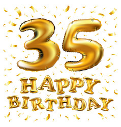 35th birthday celebration with gold balloons and vector image vector image