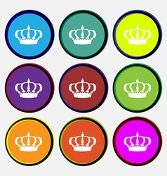 Crown icon sign nine multi colored round buttons vector