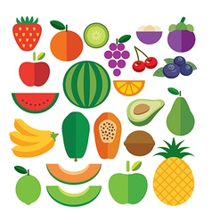 Set of fruits flat icon vector