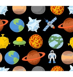 Planets of solar system seamless pattern space vector