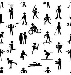 Sport silhouettes black simple icons seamless vector