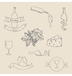 Wine icon label vector