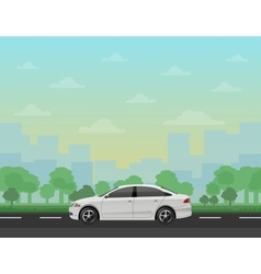 Car on the road with forest and cityscape vector image