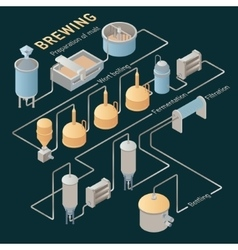 Isometric beer brewing process infographic vector