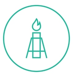 Gas flare line icon vector