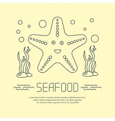 Seafood icon with starfish and seaweed vector
