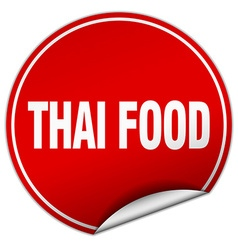 Thai food round red sticker isolated on white vector