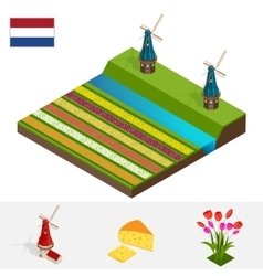 Dutch windmill and colorful tulips flowers vector