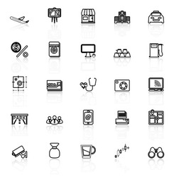 Application line icons with reflect on white vector image vector image