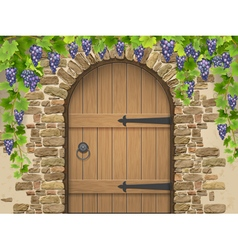 Arch of stone grapes and wooden door vector image vector image