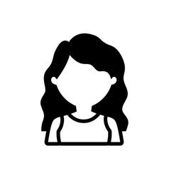 Avatar woman long hair outline vector