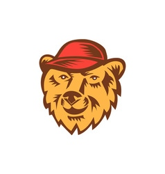Bear Head Wearing Hat Woodcut vector image vector image