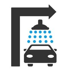 Carwash turn right flat vector