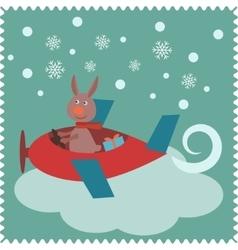 Christmas card with rabbit Santa Claus vector image vector image