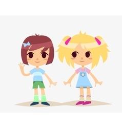 Cute cartoon kids isolated girls vector