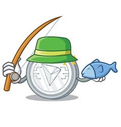 Fishing tron coin character cartoon vector