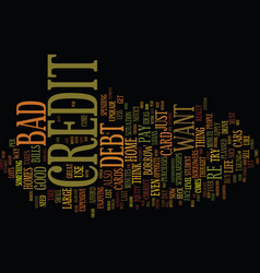 Five bad habits that can lead to bad credit text vector