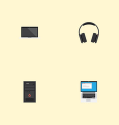 Flat icons system unit monitor laptop and other vector