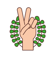 hand making peace and love with wreath vector image