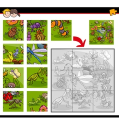 jigsaw puzzles with insects vector image