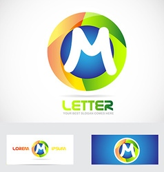 Letter M 3d logo vector image vector image
