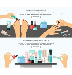 Manicure pedicure accessories 2 flat banners vector