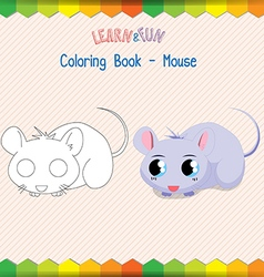 Mouse coloring book educational game vector