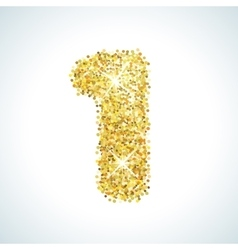 One number in golden style vector image