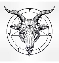 Pentagram with demon baphomet satanic goat head vector