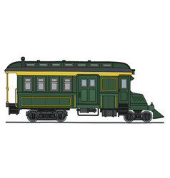 Retro green motor railcar vector