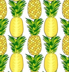 Seamless pattern of fresh pineapple vector