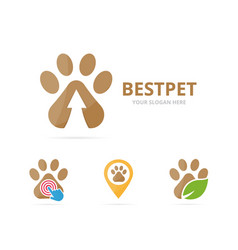 Set of paw logo combination pet and growth symbol vector