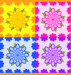 set of seamless patterns from yellow pink blue vector image vector image