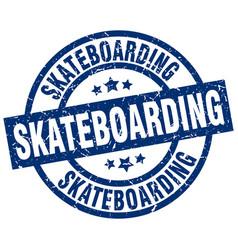 Skateboarding blue round grunge stamp vector