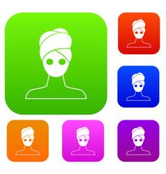 spa facial clay mask set collection vector image vector image