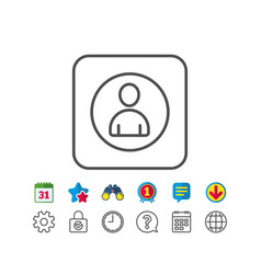 User line icon profile avatar sign vector