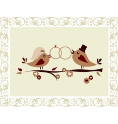 Wedding invitation with birds vector image vector image