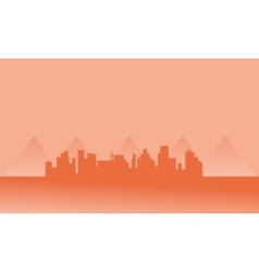 Silhouette of city in fog vector