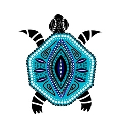 Blue turtle in first-nation style vector