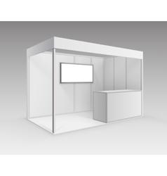 Exhibition booth for presentation counter screen vector