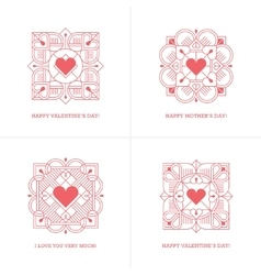 Four red linear heart emblems vector