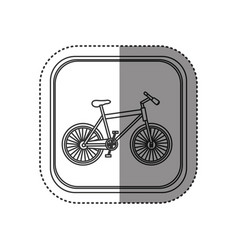 Sticker of monochrome rounded square with bicycle vector