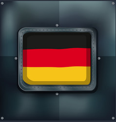 Flag of germany on metalic frame vector